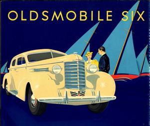 Gammal reklam för Oldsmobile, som marknadsfördes som en familjebil för den amerikanska medelklassen.