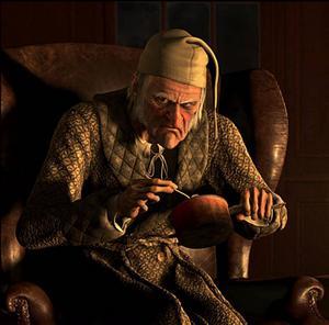 """Jim Carrey som gnidaren Ebenezer Scrooge som under en natt får uppleva skärseldens alla kval i Dickens """"En julsaga"""".Foto: ImageMovers Digital"""