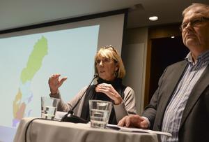 Indelningskommitténs ordförande Barbro Holmberg och vice ordförande Kent Johansson, presenterar ett förslag om en ny läns- och landstingsindelning som innebär att Sverige delas in i väsentligt färre län och landsting.