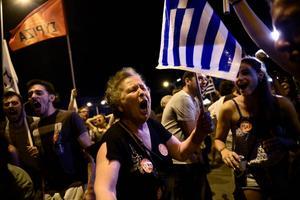 Nej-sidan firar segern i den grekiska folkomröstningen.