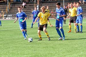 Andreas Nilsson blev segerskytt när Heby AIF vann mot Rengsjö SK med 1-0. Foto: Niclas Bergwall