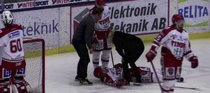 Didrik Strömberg fick en ordentlig smäll under tisdagens match mot Västerås.
