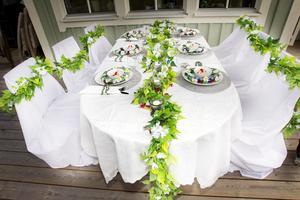 dukning. Duka och pynta kan du göra dagen innan. Vitt och blomster passar perfekt en sommarfest, har du ett annat tema på festen bör det synas.