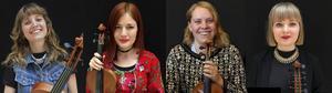 Emma Lagerberg, Ellinor Fritz, Stina Brandin och Lovisa Risinger hyllar Spelstina.