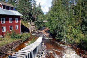Mångåns vatten rinner fritt förbi den gamla kvarnen. Fisktrappan kommer att monteras ned.