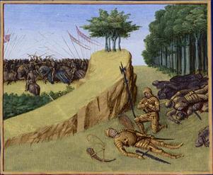 Rolands död under  slaget vid Roncevaux år 778. Illustration av Jean Fouquet från 1455.
