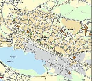 Kartan visar var misshandelsfall i centrala Ljusdal har ägt rum i år. Rund grön ring står för ett fall, gul fyrkant för 11–15 fall och grön fyrkant för 2–5 fall. Illustration: Polisen