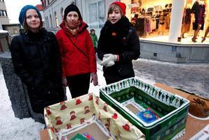 SSU-medlemmarna Kata Nilsson, Hanna Lindberg och Anna Norlén samlade in julklappar till kriminella och deras familjer. Foto: Henrik Flygare
