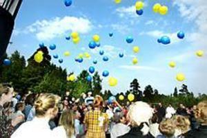 Foto: NICK BLACKMON Mot skyarna. Efter fyra skott med salutkanonen utbringades ett fyrfaldigt leve för Ytterharnäs 100-åriga skola. I samma ögonblick släpptes en mängd - 100 stycken? - blå och gula ballonger till väders.\n
