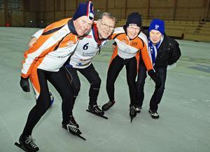 Här idel skridsko-och bandyentusiaster från vänster Tull Olle Eriksson, Jan Östberg, Daniels Sven Olsson och Leif Kratz.