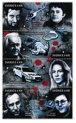 Den 26 augusti blir Stieg Larsson också frimärke, tillsammans med de andra deckarförfattarna Sjöwall-Wahlöö, Henning Mankell, Liza Marklund och Håkan Nesser.