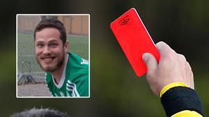 Pershagens Adam Lindin Ljungkvist fick rött kort för att ha fisit på planen under en match i division 7.