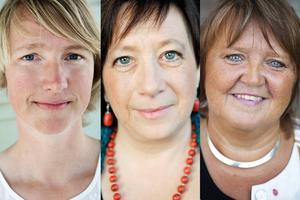 Christina Hedin (V), Karin Thomasson (MP) och AnnSofie Andersson (S). Collage av arkivbilder.
