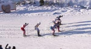 Halfvarsson hamnade på Alex Harveys skidor i en omkörning.