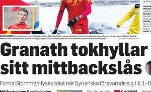10 maj 2015. Dåvarande Syrianskatränaren Kalle Granath hyllar Rigest Hysko och nuvarande VSK-mittbacken Robin Blommé.