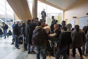 Flyktingar på Jägersro ankomstboende i Malmö.