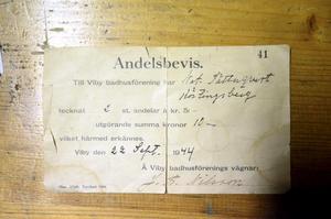 Andelsbevis från 1944.