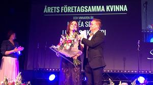 Matbloggaren Linnea Seidel tar emot pris som årets företagsamma kvinna på Silverglans 2017.