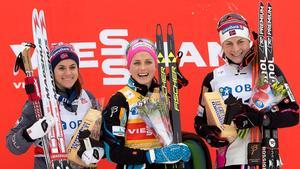 Även vid helgens millopp vid skidspelen i Falun blev det trippel norskt på prispallen. Tvåa blev Heidi Weng, vann gjorde Therese Johaug och trea kom Astrid Uhrenholdt Jacobsen.