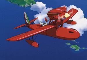 Stridspiloten Porco Rosso har förvandlats till en gris, och flyger rakt in i TT Spektras filmrecensents hjärta. Foto: Folkets Bio