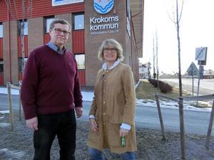 Oppositionsrådet Rolf Lilja (S) och kommunalrådet Maria Söderberg (C)