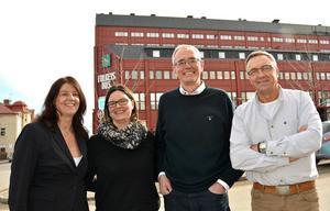 Aventus hjälper uppsagda tillbaka till jobb, Carin Edholm, kundansvarig region norr, Mirja Hjerpe, jobbcoach, Stefan Hansson, vd och Peter Blixt, projektledare.