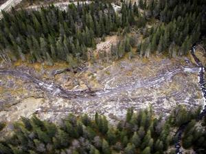 Länsstyrelsens foto som har tagits från helikopter i höstas, och som visar körskador på våtmarker som uppkommit när arbetsmaskiner körts på ofrusen mark vid passage Väster-Tvärån.