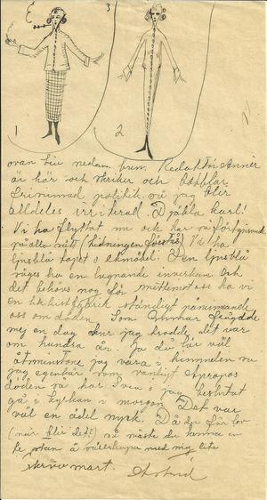 Astrid var en flitig brevskrivare och hon hann berätta mycket för sin vän Elisabeth Rydell under den tid hon jobbade på Länstidningen 1924. Breven är flitigt illustrerade med teckningar, ofta i modetecknarstil men med en egen personlig touch.
