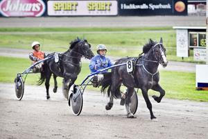 Jan-Olov Persson tog två segrar på Hagmyren. Här är han först över mållinjen med Vinn Kosing.