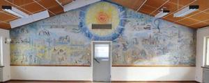En väggmålning i matsalen av konstnären Birgitta Sandberg har tidigare varit uppe för diskussioner i LT med anledning av rivningsplaner.