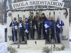 Ella Georgsson, Elsa Wallin och Moa Karlsson tog brons i stafett för Högbo GIF i ungdoms-SM.