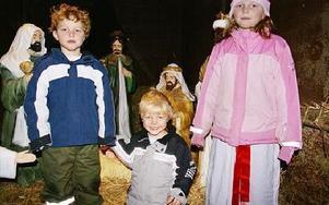 Oliver, Isaac och Elizabeth Winstanlei trivdes vid krubban.FOTO: ANDERS BJÖRKLUND
