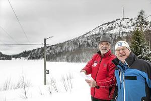 Peter Günther och Thord Järlehag i området där de vill utveckla ett friluftcenter för både Njurundabor och tillresande turister.