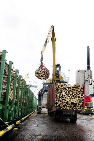 Här lossas cirka 500 000 ton massaved och flis per år.