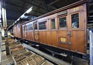 Den här vagnen byggdes 1868 och användes på den privata järnvägen Gävle-Dala Järnväg.