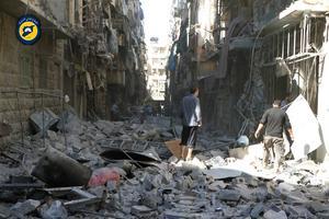 Bild från Syriska civilförsvarsgruppen Vita Hjälmarna från september 2016.  Bilden har verifierats av AP.