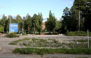 LIDL PÅ IS. Det gick snabbt för Lidl att riva byggnaderna på sin nyköpta mark utefter Faluvägen i Hofors. Men nu står bygget still.