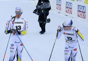 Calle Halfvarsson och Jens Burman efter tremilen i Lahtis.
