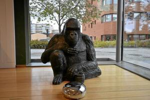 I utställninghallen visas för närvarande Torsten Molanders skulpturer av gorillor. Bild: ARON WIJK