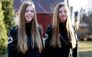Etta och trea i poängligan. Tvillingarna Hellgren, Frida och Clara, har allt för att bli kommande stjärnor i svensk innebandy.