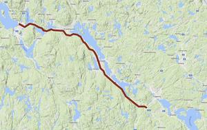 Sträckningen av riksväg 66 som kommer att byggas om med bland annat mitträcke. Karta: Google Maps