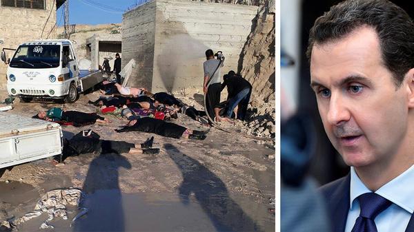 Över 80 personer ska ha dött i den påstådda kemvapenattacken som Syriens president  Bashar-al Assad  förnekar.