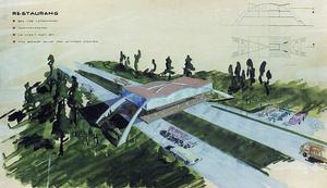 Vägrestaurangen i Dalecarlia City. Motorvägen går under och lockar till utsikt. Teckning av arkitekt Aziz Wahby 1964.
