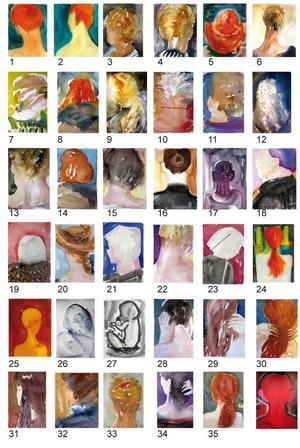 Kartan med de många kvinnoporträtten finns i utställningskatalogen och som bildspel. Nummer 2 är Kata Dahlström,  nummer 8 författaren Elfriede Jelinek, nummer 15 forskaren Inga Michaeli, nummer 34 Yoko Ono, nummer 35 Amanda Erixån. Exempelvis.