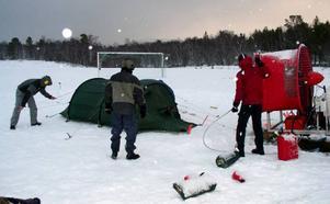Militärerna ska få känna på kraften från en full vinterstorm genom den här simulatorn. Bilden togs förra vintern.  Foto: ATI Mountain Experience