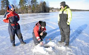 Stendött. Ett enda napp hittills, som dessvärre släppte. Jonas Arvidsson, Oskar Pettersson och Tobias Alexandre hade ingen större fiskelycka när Löaborns fiskevårdsområde arrangerade angeltävling på Norrsjön.