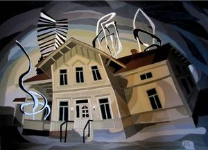 Ångekonstnären Kicki Jerschkes textila bild av nuvarande Arne Jones konsthall. Samlingarna som nu ryms i den gamla rektorsbostaden vid Ålsta folkhögskola bör stanna i bygden, menar debattörerna.