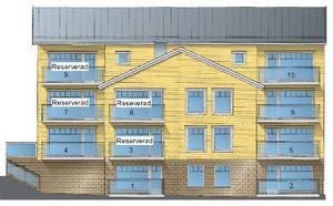 Brygghusen ovanför Thomassongården. Tio fritidslägenheter. Foto: Illustration thomassongard.com