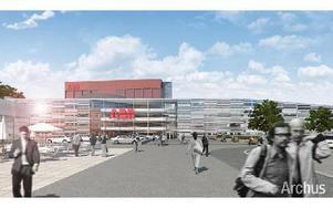 Innanför järnvägsövergången möts man om 1,5 år av nya HVDC byggnaden, med 150 meters transparent fasad. (Illustration: ARCHUS arkitektbyrå Johnnie Pettersson)