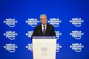 Tysklands president Joachim Gauck uppger i Davos att det är extremt troligt att också Tyskland inför begränsningar för den stora flyktingströmmen.